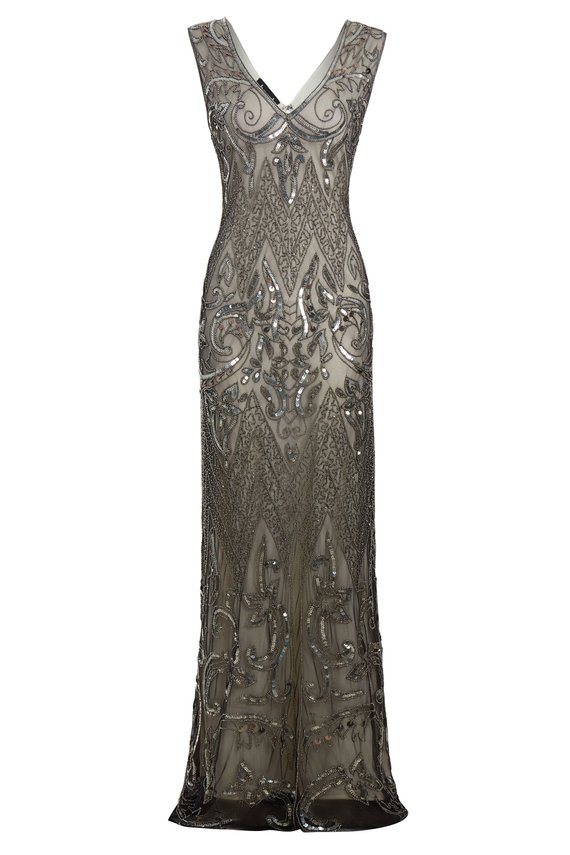 21251c9a674c Angie – Dusty Grey Embellished 1920s Evening Maxi Dress