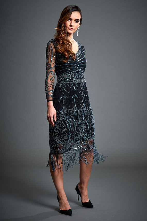 Tabitha Black Midi Embellished 1920s Gatsby Long Sleeve Fler Dress