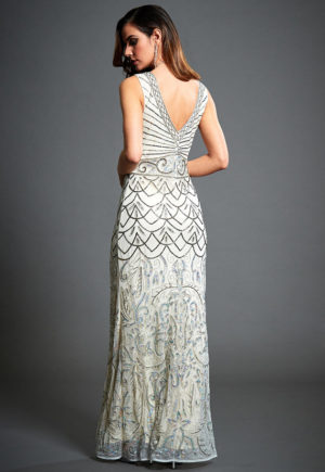 4556b5bb760 Eva Off White Embellished 1920 s Art Deco Gatsby Wedding Guest Dress ...
