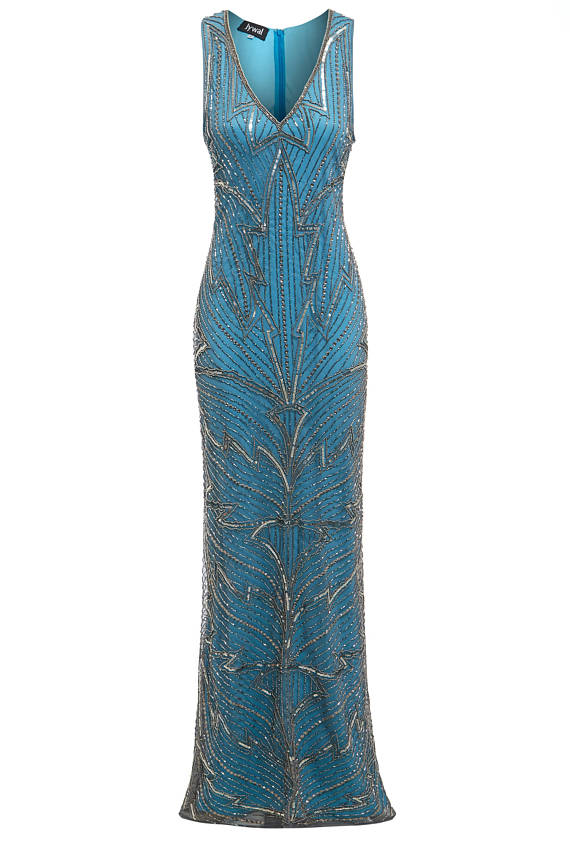 Monica - Silver Embellished 1920s Great Gatsby Flapper Blue Evening ...
